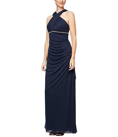 Alex Evenings Long A-Line Mesh Sleeveless Dress (Navy) Women