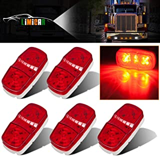 LIMICAR 5PCS Side Marker Light Trailer Red LED Light Double Bullseye 12 Diodes for Truck Led Lights