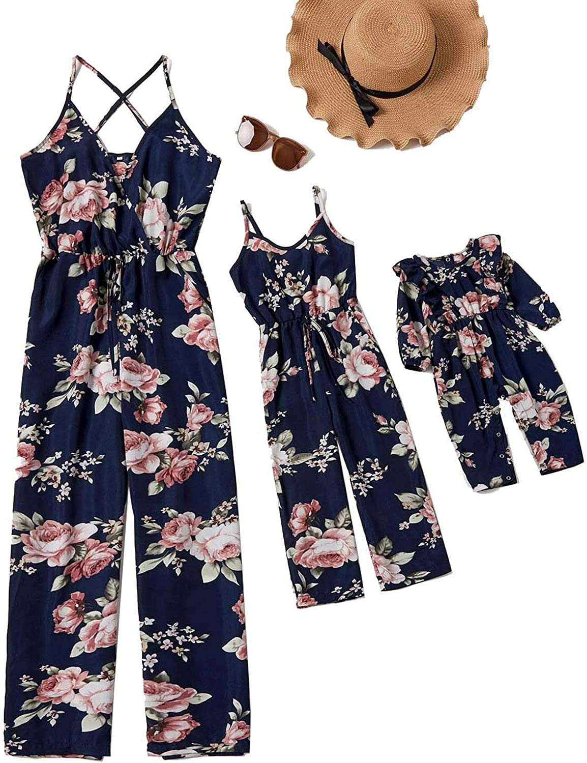 Fankle Mommy and Me Matching F Straps Challenge the Finally popular brand lowest price of Japan ☆ Daughter Jumpsuits Mom