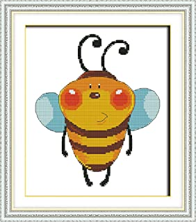Full Range of Embroidery Starter Kits Stamped Cross Stitch Kits Beginners for DIY Embroidery with 40 Pattern Designs - Bees