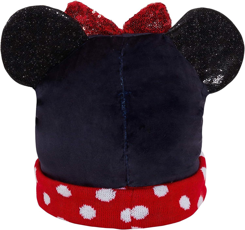 Disney M/ädchen Minnie Maus 3D Bommelm/ütze Kinder Glitzer Winter Fleece gef/üttert Kappe