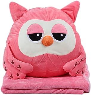 Alpacasso 3 In 1 Cute Cartoon Plush Stuffed Animal Toys Throw Pillow Blanket Set with Hand Warmer Design. (Pink Owl)