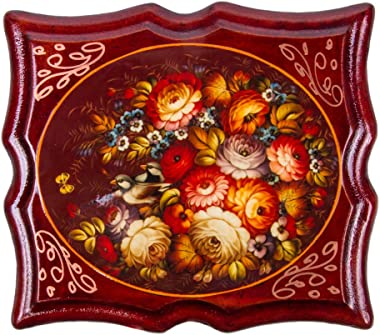 Russian Lacquer Miniature Hand-Painted Flowers Small Trinket Box Decorated Box