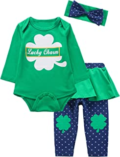 Baby Girls St Patrick's Day Outfit Set Clover Top Stripe Pants with Headband
