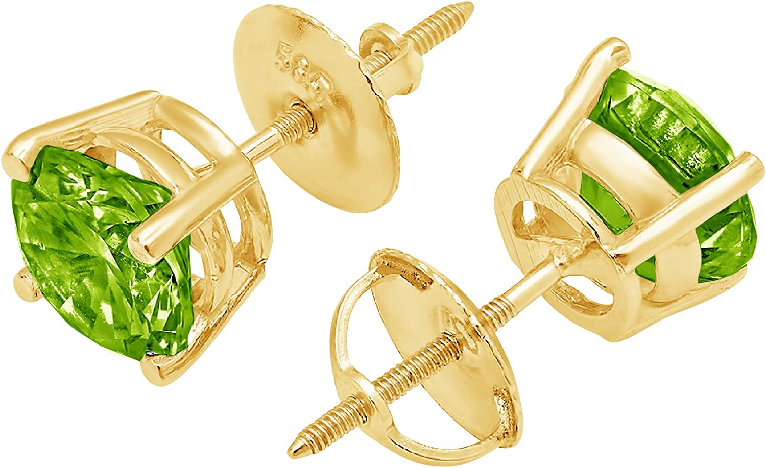 Clara Pucci 1.50 ct Brilliant Round Cut Solitaire VVS1 Fine Natural Green Peridot Gemstone Pair of Stud Earrings Solid 18K Yellow Gold Screw Back