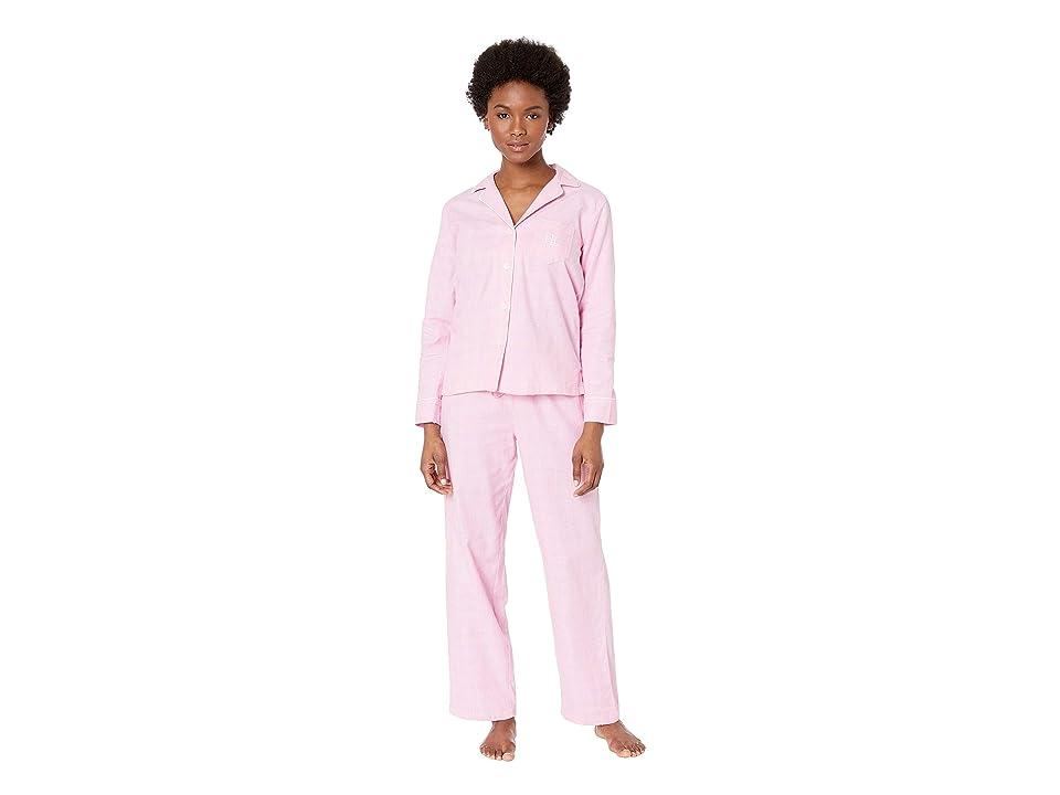 LAUREN Ralph Lauren Petite Brushed Twill Long Sleeve Notch Collar Pajama Set (Pink Plaid) Women