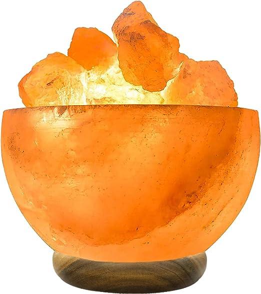 Salt Fire Bowl Natural Wooden Base Handmade Table lamp