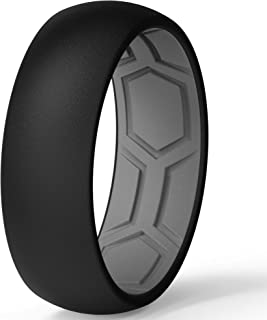 ThunderFit Men Breathable Air Grooves Silicone Wedding Ring Wedding Bands - 7 Rings / 4 Rings / 1 Ring - 8mm Width 2mm Thi...