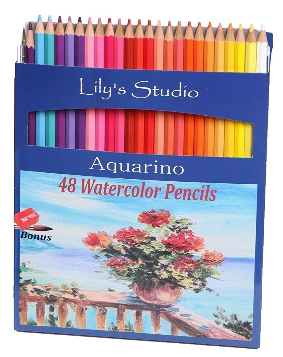 Lily's Studio 48 Colored Pencils for Adult Coloring and Drawing, BONUS Paint Brush and Pencil Sharpener Included
