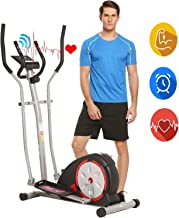 ANCHEER Elliptical Machine, Elliptical Exercise Trainer Machine with LCD Monitor and Pulse Rate Grips, Magnetic Smooth Quiet Driven for Home Using, Top Levels Elliptical Trainer