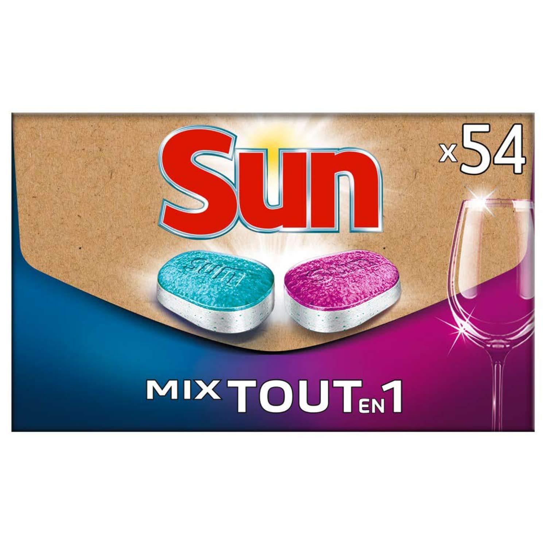 Sun Tablettes Lave-Vaisselle Mix Expert Tout-En-1 Format Ecologique Pratique, Livré Directement dans votre Boîte aux Lettres 54 Lavages (Lot de 27 Tablettes Sun Expert et 27 Tablettes Sun Tout-En-1)
