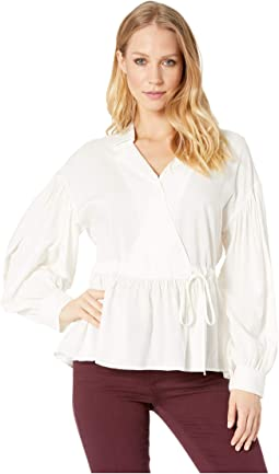 Tibi Long Sleeve Wrap Blouse Clothing White At 6pm Com