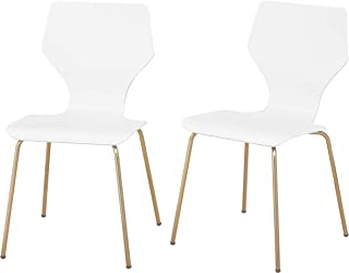 Angelo:HOME Enna Mid Century Bentwood Seat Dining Chair with Metal Legs, Set of 2, White