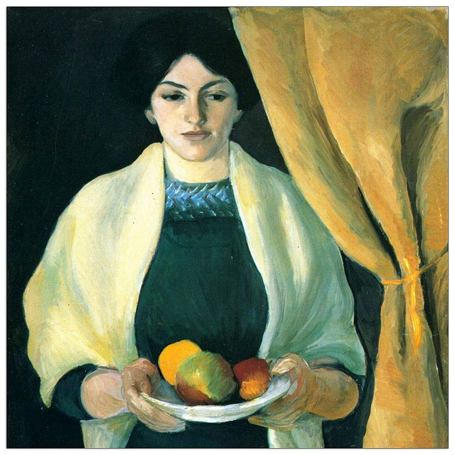 ArtPlaza TW91406 Macke August Apples (Portrait of The Wife of The Artist) Decorative Panel 15.5x15.5 Inch Multicolored