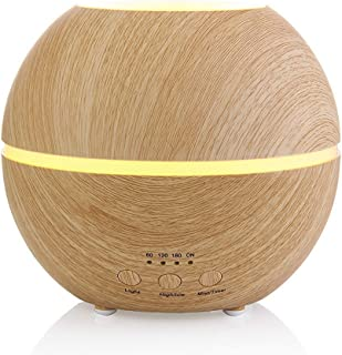 Aromatherapy Essential Oil Diffuser Ultrasonic Cool Mist Humidifier with Timer and 7 Color LED Waterless Auto Shut-off, 300ml Light Wood Grain by MIU COLOR
