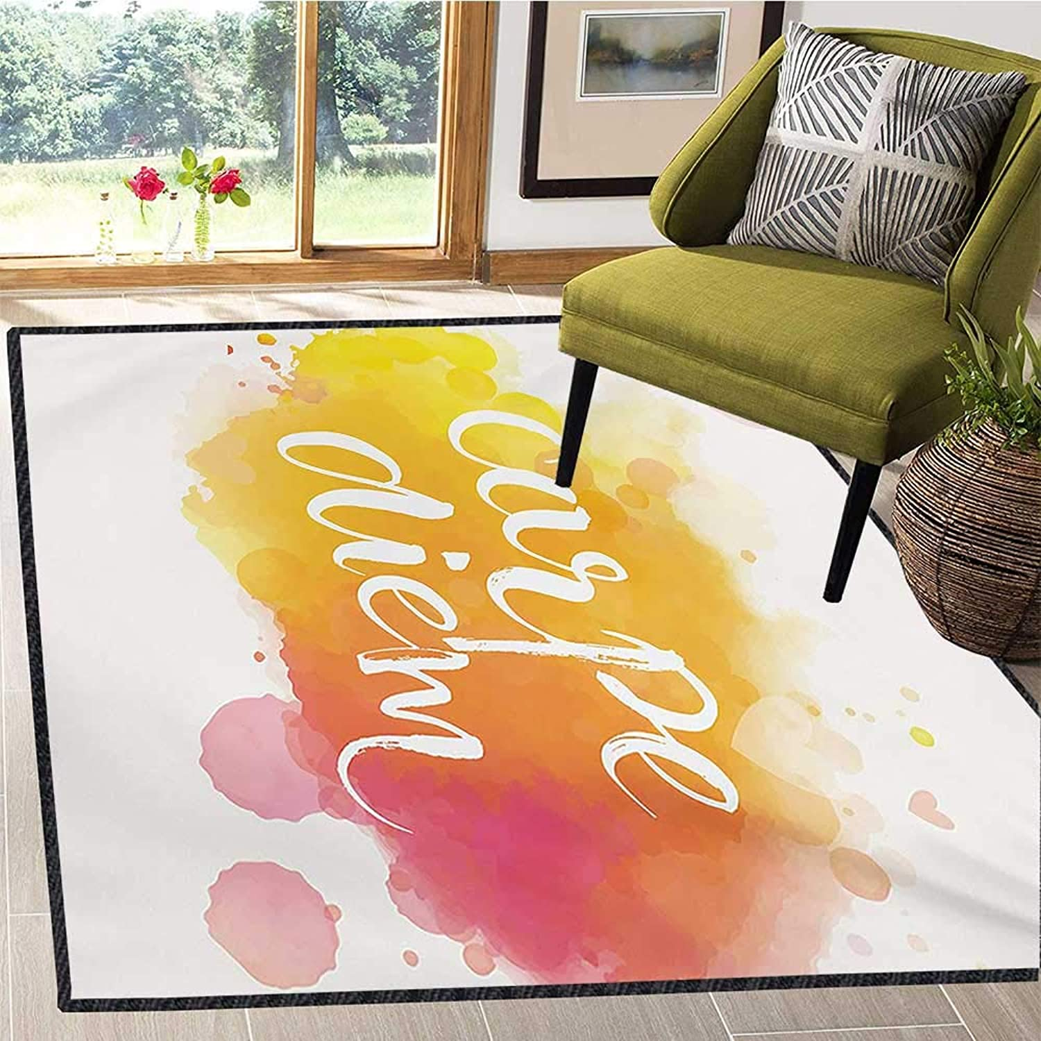 Yellow and White, Door Mats Area Rug, Watercolor Style with Carpe Diem Seize The Day Enjoy The Moment, Door Mat Indoors 5x6 Ft Yellow Marigold Pink