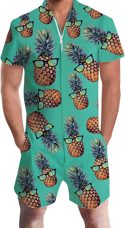 Goodstoworld Male Zipper Funny Romper Ju Soldering Hawaiian Party Fit Miami Mall Slim