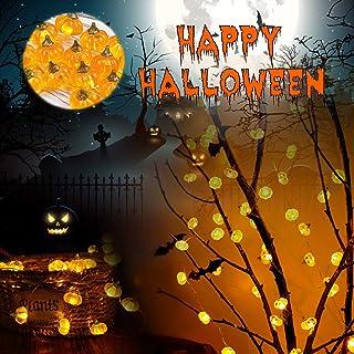 Halloween Pumpkin String Lights, Pumpkin Decor Autumn Indoor and Outdoor Party Fairy Lights, 3D Jack-O'-Lantern, 10ft 30LE...