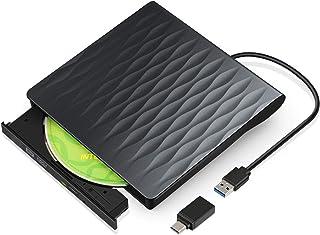comprar comparacion Grabadora de DVD/CD Externa, USB 3.0 y Tipo C Lector de DVD/CD Externo Portátil para Laptops, Notebook y Sobremesa, Compat...
