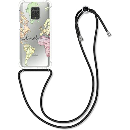 Multicolor//Transparent Clear Transparent TPU Cell Phone Cover with Neck Cord Lanyard Strap kwmobile Crossbody Case Compatible with Xiaomi Redmi Note 8
