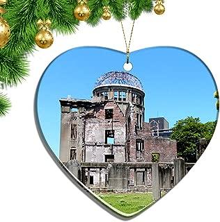 Hqiyaols Ornament Japan The Atomic Bomb Dome Hiroshima Christmas Ornaments Ceramic Sheet Souvenir City Travel Pendant Gift Tree Door Window Ceiling Decoration Collection