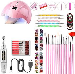 Josopa - Juego de manicura de uñas, USB 36 W, lámpara de uñas UV LED con 3 temporizadores, secador de uñas eléctrico de uñas y cepillos de uñas para uñas