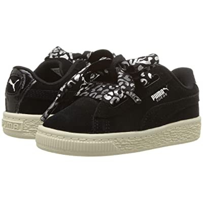 Puma Kids Suede Heart Athluxe Inf (Toddler) (Puma Black/Puma Silver/Whisper White) Girls Shoes
