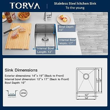 Bar Sink, TORVA 14-Inch Workstation Undermount Kitchen Sink, 16 Gauge Stainless Steel Single Bowl Bar or Prep Sink with Stain