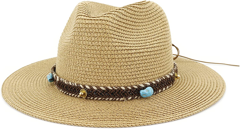 Gossifan Women Sun Straw Fedora Beach Hat Panama Hat Wide Brim Sun Hat