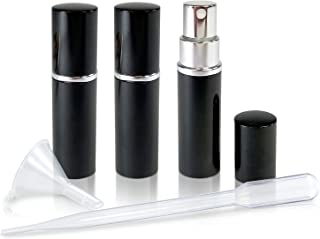 Refillable Perfume & Cologne Fine Mist Atomizers with Metallic Exterior & Glass Interior - 5ml Portable Travel Size - 3ml Squeeze Transfer Pipette Included (3 Pack, Black)