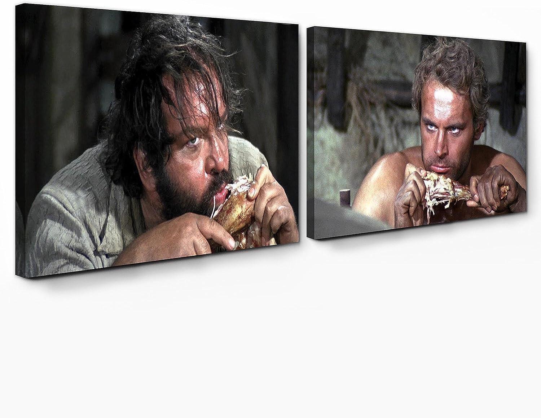 Bud Spencer - Halleluja Dinner Vier Fuste für Ein Halleluja - Leinwand (2 Leinwnde je à 70x40cm)