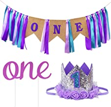 Ecore Fun First Birthday Decorations Party Supplies for Baby Girls, High Chair ONE Burlap Banner + NO.1 Crown + ONE Cake T...