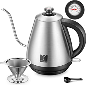 Electric Gooseneck Kettle with Thermometer Lid Pour Over Coffee Kettle Quick Heating Water Kettle with Coffee Dripper Filter Stainless Steel Teapot for Coffee and Tea, Auto Shut-Off, 1.0L