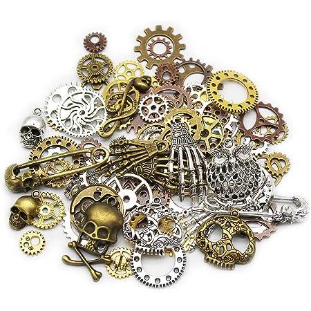 Mila-Amaz 80 Pièces Assorties Accessoires Steampunk Engrenages Vintage Gears Squelette Steampunk Pendentif Charms pour l'artisanat, Bijoux de Bricolage
