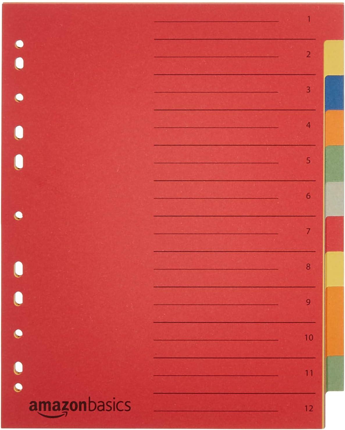 A4 Manille recycl/ée Basics Intercalaires poin/çon Euro Lot de 40 230 g//m/² 24 x 29,7/cm extra-large avec 12 onglets dans 6 couleurs