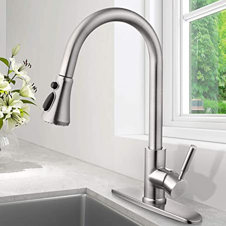 SOKA Pull Down Kitchen Faucet with Sprayer Kitchen Sink Faucet Brushed Nickel Kitchen Faucets Single Handle RV Kitchen Faucet Laundry Sink Faucet High Arc Kitchen Faucet Brushed Nickel with Deck Plate