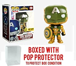 Funko Pop! Games: Marvel Contest of Champions CIVIL WARRIOR # 299 Glow In The Dark Exclusive Collectible Vinyl Figure (Bundled with Pop Box Protector Case)