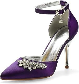 LGYKUMEG Chaussures de mariée,Chaussures de Mariage,Femmes Bout fermé Talon Haut Bloc,Bout pointu,Escarpins pour Femme