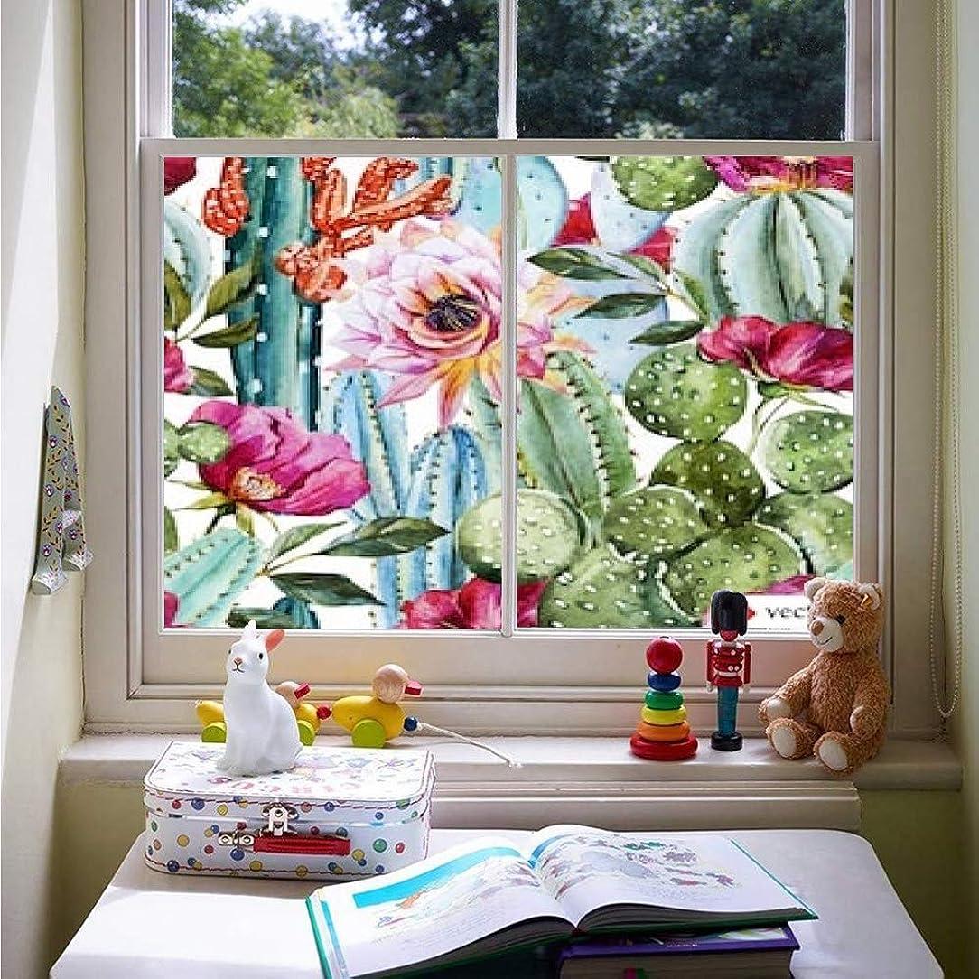 膨らませる最も遠いジャンク窓フィルム 目隠しシート 窓ガラス 遮光シート 美術の窓 飛散防止フィルム ウォーターカラー?パターンWith Flowers Rons And Cactus、bright Tropic uv ガラスフィルム 窓際のトットちゃん 断熱シート マジックミラー フィルム 透明 かわいい 窓ぼかし シェード 窓用かんきせん 紙シール