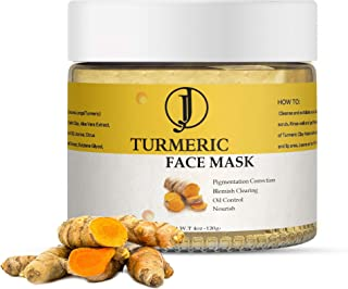JJ Beauty Creations - ORGANIC VITAMIN C TURMERIC CLAY FACE MASK (4OZ) For Acne, Control Oil, Purify Pores, Remove Toxins, ...