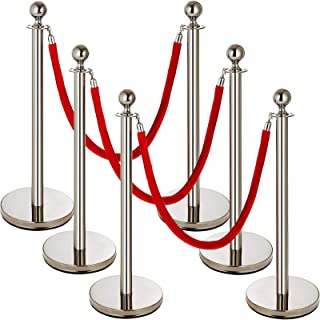 Mophorn 6 Pcs Stainless Steel Stanchion Post Queue Crowd Control Red Velvet Rope 38In Silver Crowd Control Barriers Queue Line