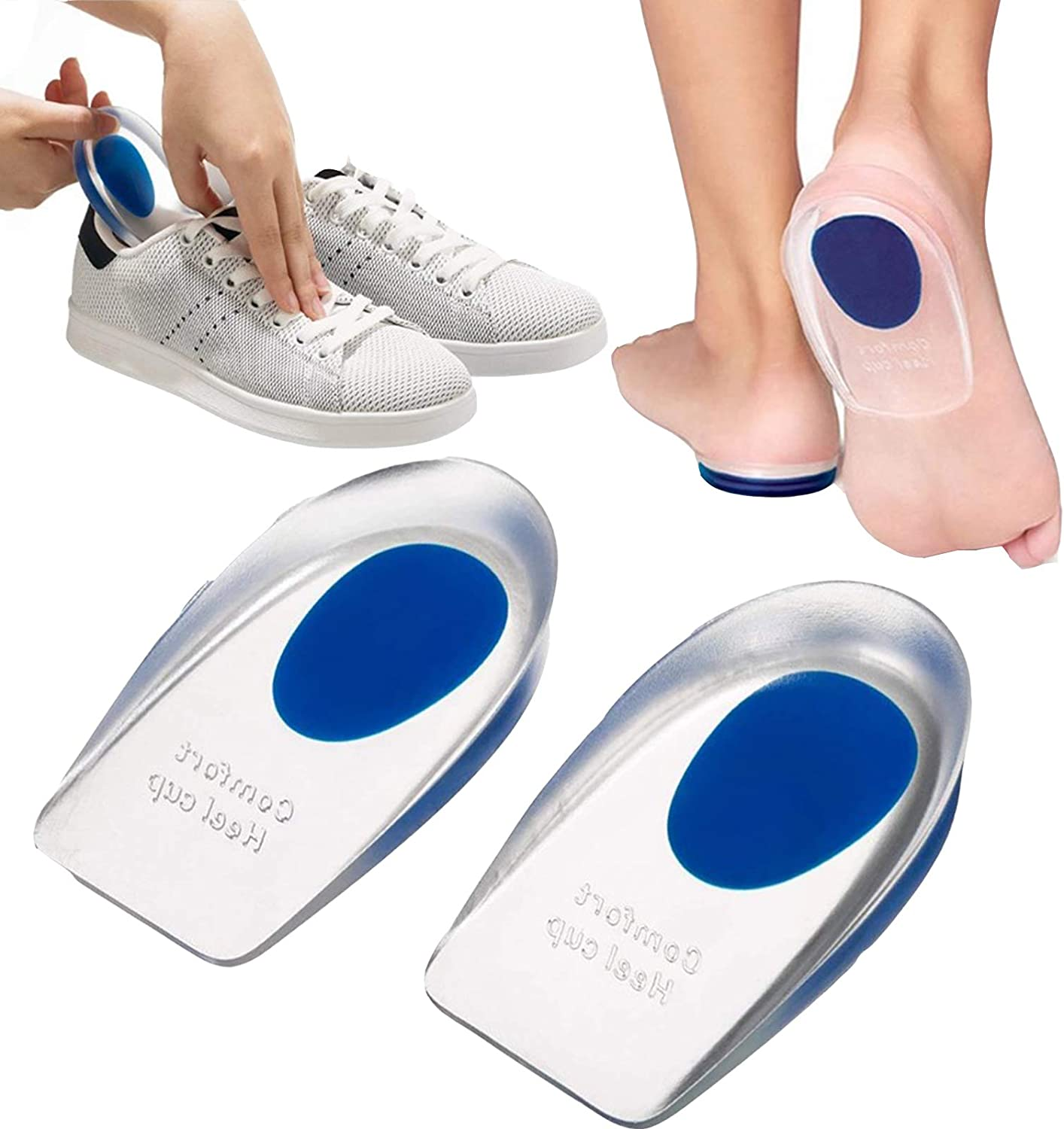 Silicone famous Gel Heel Cups List price for 1pair Fasciitis Pain He Plantar