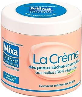 Mixa Intensif - Crème Visage, Corps, Mains - Pour Peaux Sèches & Sensibles - Huiles 100% Végétales - 400 ml