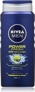 NIVEA MEN Power Fresh Shower Gel Pack of 4 (6 x 400 ml), Moisturising Body Wash with Aloe Vera, All-in-1 Shower Gel for Me...