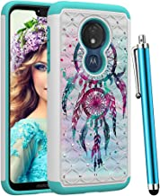 CAIYUNL for Moto G7 Power Case,Dual Layer Hybrid Protective Amor Shockproof Rugged Cover Bling Sparkle Studded Rhinestone for Motorola Moto G7 Power/G7 Supra(NOT fit Moto G7)-Colourful Aeolian Bells