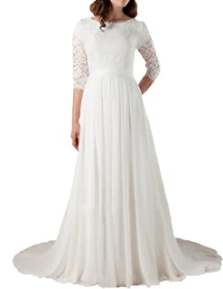 Best lace illusion sleeve wedding dress Reviews