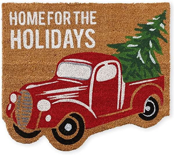 Mud Pie Red Christmas Truck Holiday Front Doormat 27 X 24 Brown Green