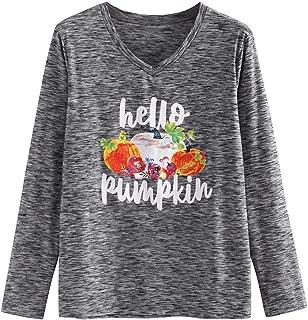 Jeash Hello Pumpkin Long Sleeve T Shirt Women Loose Funny Halloween Cute Pumpkin Graphic Tee