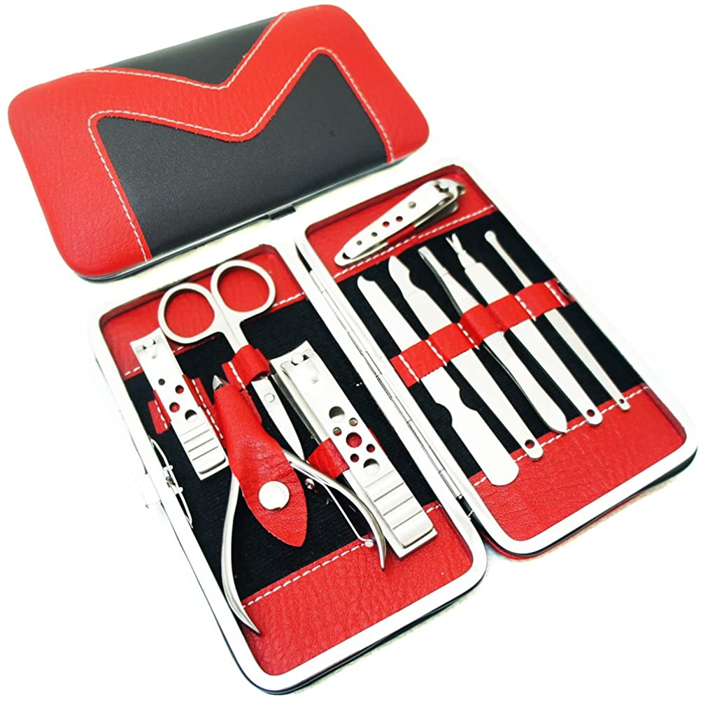 Nsstar Nail Care Personal Manicure & Pedicure Set, Leather Travel & Grooming Kit, Tool Clipper By Binnbox (10PCS Set Red)