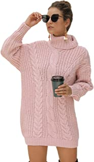 MAKEMECHIC Women's Solid High Neck Geo and Cable Knit Loose Sweater Dress